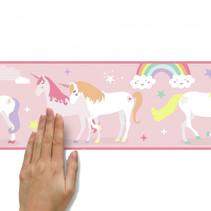 wanddecoratie randsticker Magical Unicorn 4,5 m roze