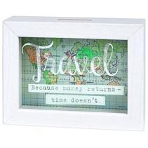 spaarpot Travel 16,5 x 12,5 cm hout wit/groen