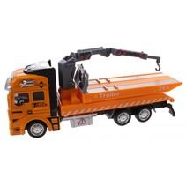 takelwagen diecast 20 cm pull-back geel/grijs