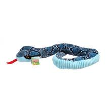 knuffel slang junior 130 cm pluche blauw