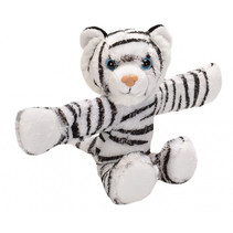 knuffel witte tijger 20 cm pluche wit/zwart