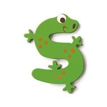 letter S hagedis groen 5.5 cm