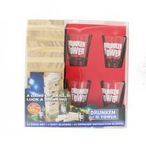 drankspel Drunk Tower hout/glas transparant 5-delig