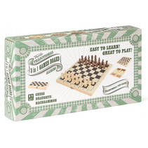 3-in-1 spelbox 29 x 14,5 cm hout beige/bruin