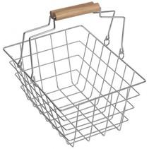 boodschappenmandje 20 x 15 x 9,5 cm staal/hout zilver