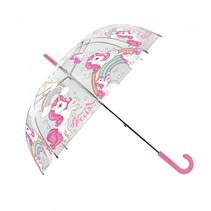 kinderparaplu meisjes 80 cm transparant/roze