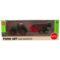 tractorset 8000 jongens 16 cm staal groen/rood 2-delig