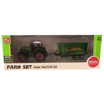 tractorset 53 jongens 16 cm staal groen/geel 2-delig