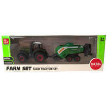 tractorset 05 jongens 16 cm staal groen 2-delig