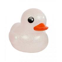 badeend Mega Glitter meisjes 20 cm rubber wit