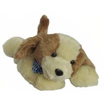 knuffel Klein Hondje junior 25 cm pluche wit/bruin