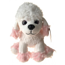 knuffelhond junior 20 cm pluche wit/roze