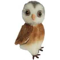 knuffel Miniatuur Uil 9 cm pluche bruin/wit