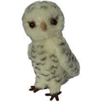 knuffel Miniatuur Uil 9 cm pluche grijs/wit