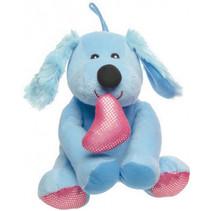 knuffelhond Valentijnsdag meisjes 17 cm pluche blauw