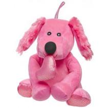 knuffelhond Valentijnsdag meisjes 17 cm pluche roze