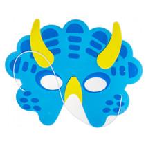 masker dino junior 21 x 16 cm karton blauw/geel