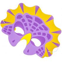 masker dino junior 21 x 16 cm karton paars/geel