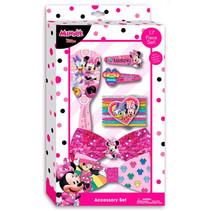 haarborstel en speldjes Minnie Mouse roze 16-delig