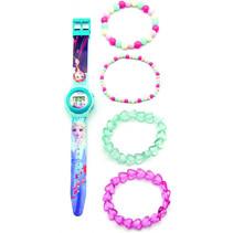 horloge-set Frozen II meisjes 39,3 cm groen/roze
