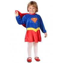 kostuum Supergirl meisjes katoen rood/blauw/geel mt 116/152