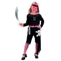 kinderkostuum Piraat polyester zwart 7-9 jaar 4-delig