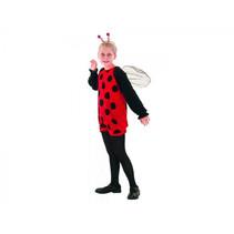 kinderkostuum Lieveheersbeestje rood/zwart 4-6 jaar