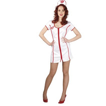 kostuum Verpleegster dames polyester rood/wit 2-delig