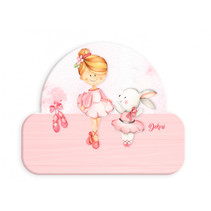 naambord ballerina met konijn meisjes 12 x 17 cm hout roze