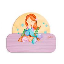 naambord zeemeermin meisjes 12 x 17 cm hout roze