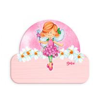 naambord ballerina-fee meisjes 12 x 17 cm hout roze