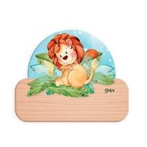 naambord leeuw 12 x 17 cm hout bruin/oranje/lichtbruin