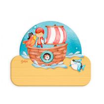 naambord piratenboot junior 12 x 17 cm hout bruin/geel