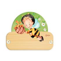 naambord bij junior 12 x 17 cm hout zwart/geel/lichtbruin