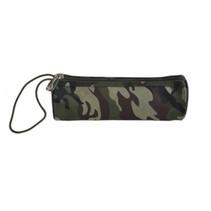 schooletui camouflage 21 cm katoen groen/bruin/zwart