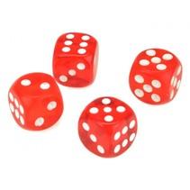 magische dobbelstenen 15 mm rood 4 stuks