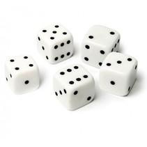dobbelstenen 5 stuks wit