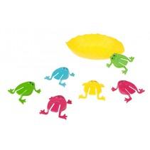 springkikkers met blad 6 stuks 4cm geel