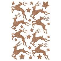 glitterstickers hert brons 12 x 18,5 cm 24-delig