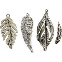 veertjes  2,9 - 5,5 cm 4 stuks zilver