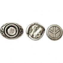 bedels 1,5 - 2,2 cm 45 stuks zilver