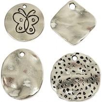 bedels 2,1 - 2,8 cm 40 stuks zilver