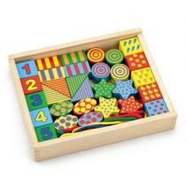 rijgblokken hout multicolor 34-delig