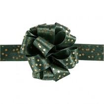 lint 5 m 18 mm groen met gouden stippen
