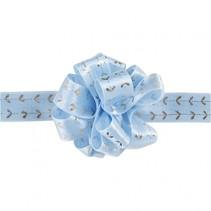 lint 5 m 18 mm blauw met zilveren harten