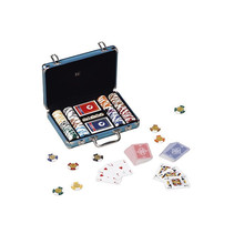 pokerset DeLuxe 31 cm aluminium blauw 5-delig