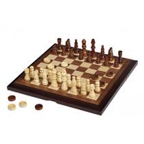 schaak- en dambord opbouwbaar 30 cm hout bruin 3-delig