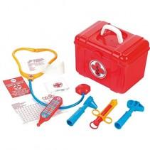 doktersdoosje met accessoires 7-delig rood 21 cm