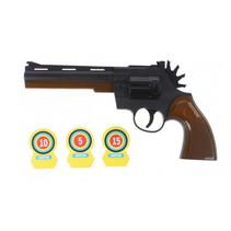 Cowboypistool met schietschijf zwart/bruin 23 cm