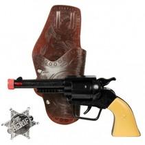 Wild West speelset Revolver zwart/bruin 23 cm